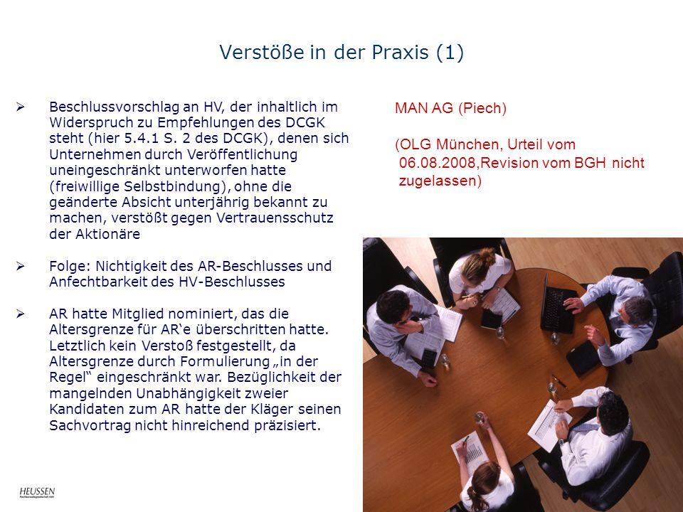 Verstöße in der Praxis (1) MAN AG (Piech) (OLG München, Urteil vom 06.08.2008,Revision vom BGH nicht zugelassen) Beschlussvorschlag an HV, der inhaltlich im Widerspruch zu Empfehlungen des DCGK steht (hier 5.4.1 S.