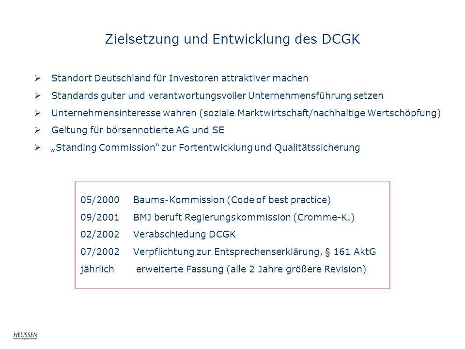 Zielsetzung und Entwicklung des DCGK Standort Deutschland für Investoren attraktiver machen Standards guter und verantwortungsvoller Unternehmensführu
