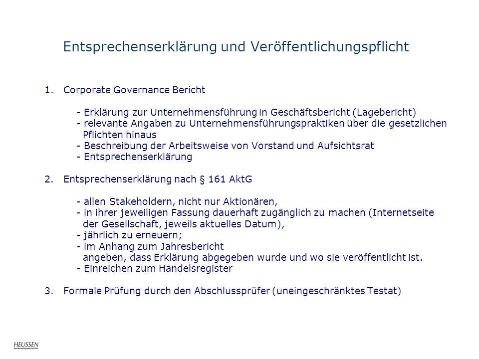 Entsprechenserklärung und Veröffentlichungspflicht 1. Corporate Governance Bericht - Erklärung zur Unternehmensführung in Geschäftsbericht (Lageberich