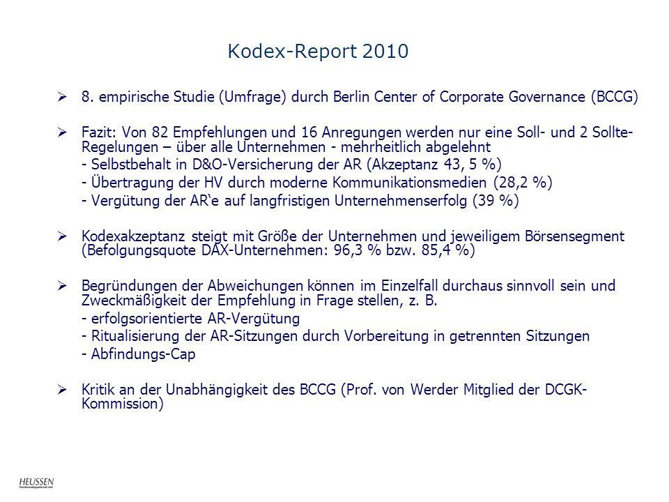 Kodex-Report 2010 8. empirische Studie (Umfrage) durch Berlin Center of Corporate Governance (BCCG) Fazit: Von 82 Empfehlungen und 16 Anregungen werde