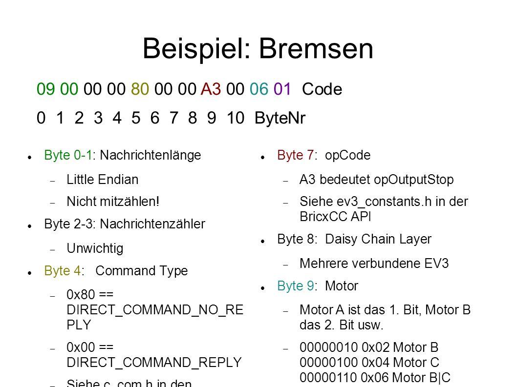Beispiel: Bremsen Byte 0-1: Nachrichtenlänge Little Endian Nicht mitzählen! Byte 2-3: Nachrichtenzähler Unwichtig Byte 4: Command Type 0x80 == DIRECT_