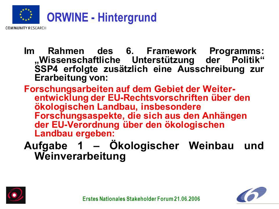 Im Rahmen des 6. Framework Programms: Wissenschaftliche Unterstützung der Politik SSP4 erfolgte zusätzlich eine Ausschreibung zur Erarbeitung von: For