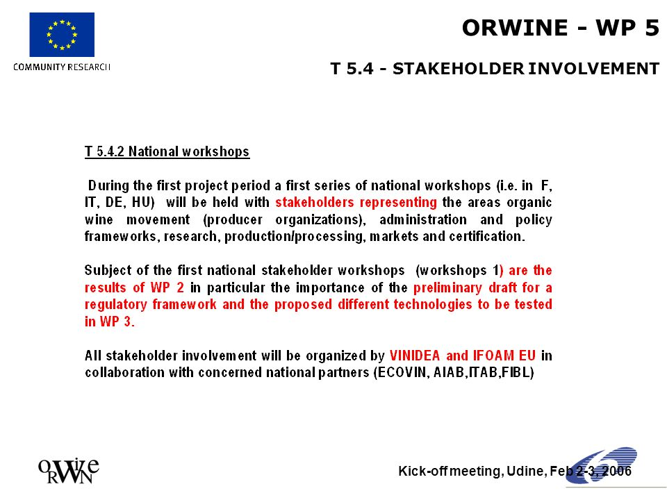 ORWINE - WP 5 T 5.4 - STAKEHOLDER INVOLVEMENT Kick-off meeting, Udine, Feb 2-3, 2006