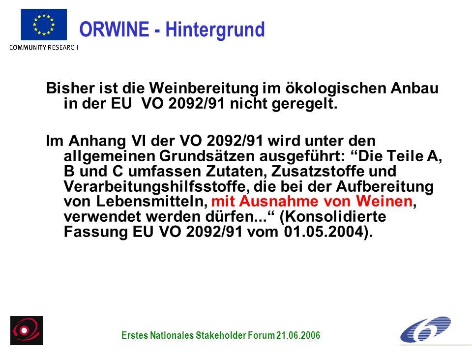 Bisher ist die Weinbereitung im ökologischen Anbau in der EU VO 2092/91 nicht geregelt. Im Anhang VI der VO 2092/91 wird unter den allgemeinen Grundsä