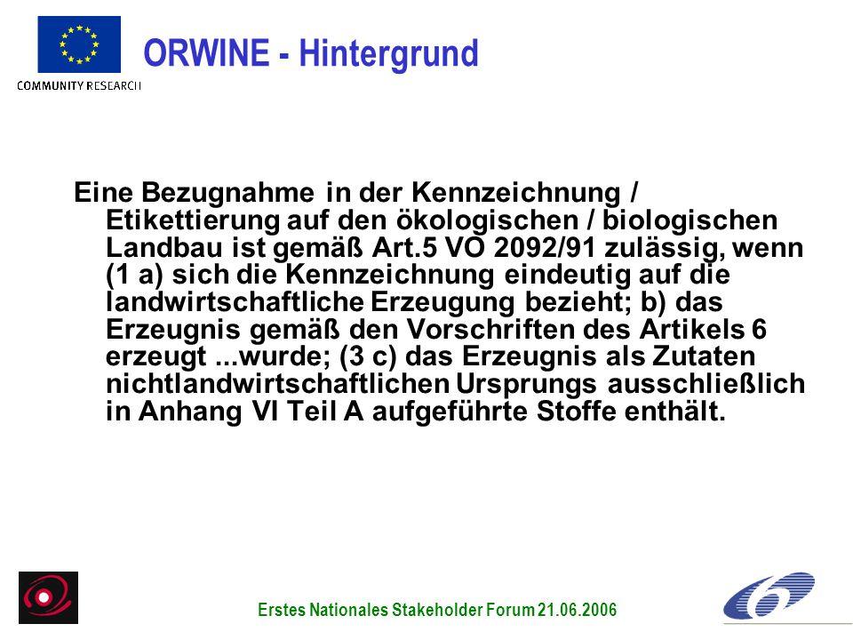 Eine Bezugnahme in der Kennzeichnung / Etikettierung auf den ökologischen / biologischen Landbau ist gemäß Art.5 VO 2092/91 zulässig, wenn (1 a) sich
