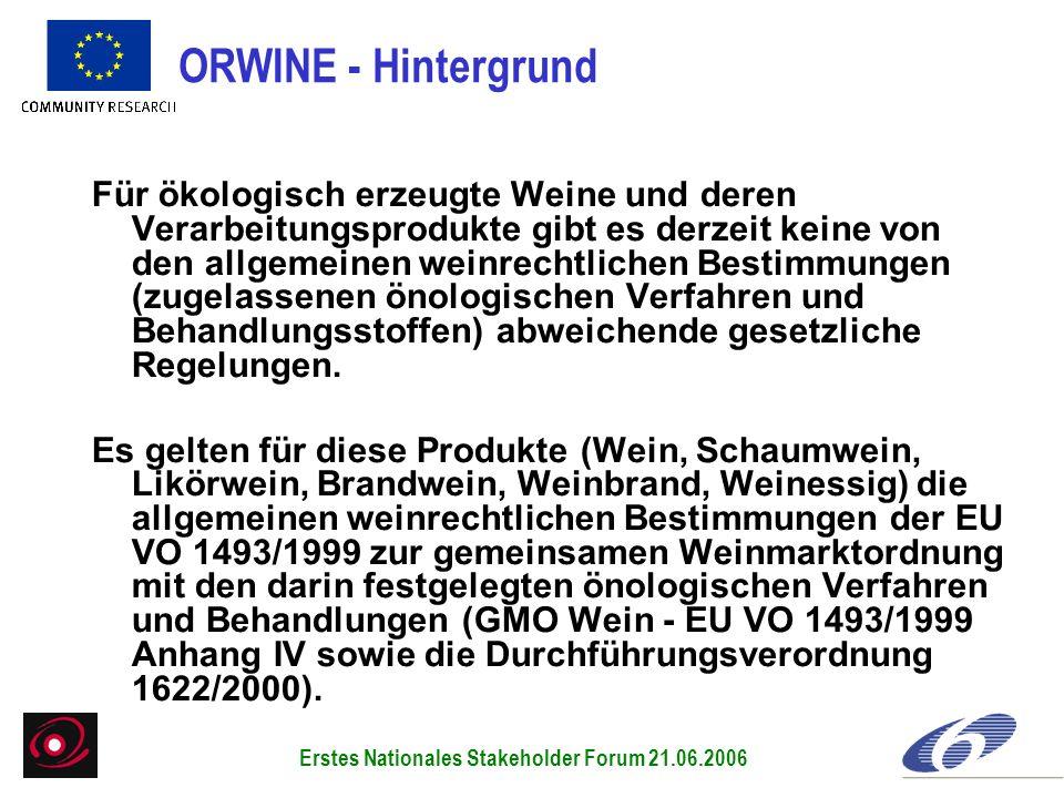 Für ökologisch erzeugte Weine und deren Verarbeitungsprodukte gibt es derzeit keine von den allgemeinen weinrechtlichen Bestimmungen (zugelassenen öno