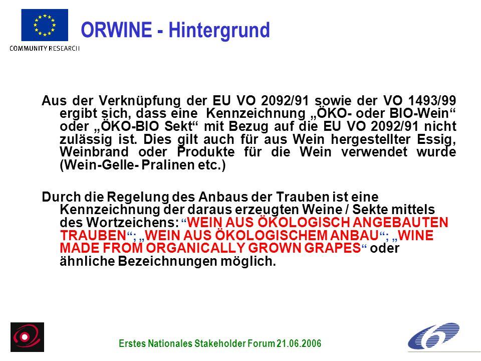 Aus der Verknüpfung der EU VO 2092/91 sowie der VO 1493/99 ergibt sich, dass eine Kennzeichnung ÖKO- oder BIO-Wein oder ÖKO-BIO Sekt mit Bezug auf die EU VO 2092/91 nicht zulässig ist.