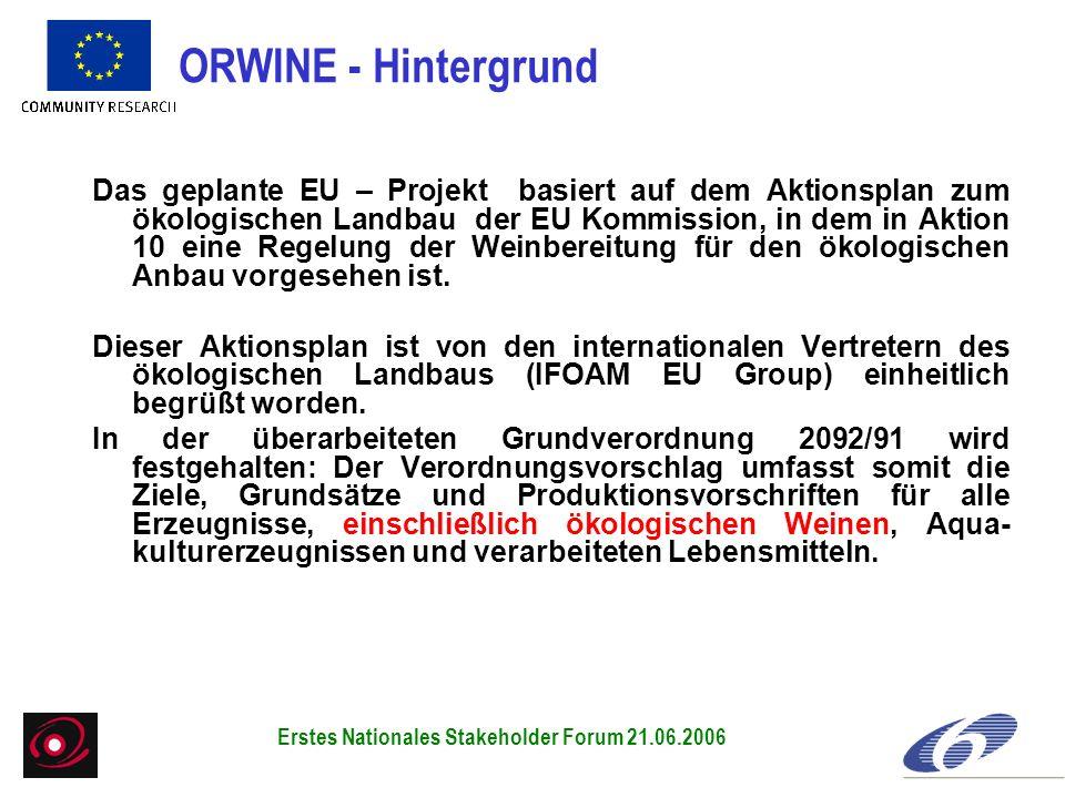 Das geplante EU – Projekt basiert auf dem Aktionsplan zum ökologischen Landbau der EU Kommission, in dem in Aktion 10 eine Regelung der Weinbereitung für den ökologischen Anbau vorgesehen ist.