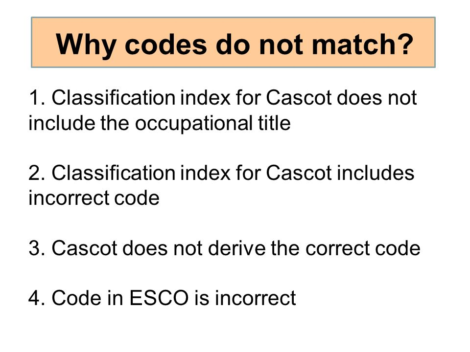 Why codes do not match? 1. Classification index for Cascot does not include the occupational title 2. Classification index for Cascot includes incorre