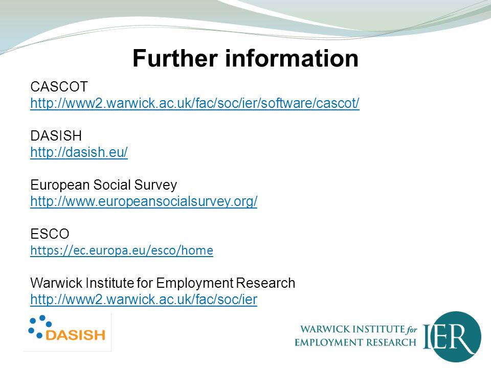CASCOT http://www2.warwick.ac.uk/fac/soc/ier/software/cascot/ DASISH http://dasish.eu/ European Social Survey http://www.europeansocialsurvey.org/ ESC