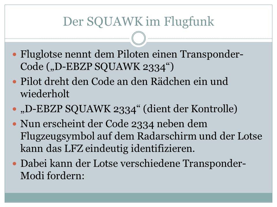 Die Transponder-Modi Modus A (Schalter auf ON) – nur SQUAWK wird übermittelt Modus C (Schalter auf ALT für Altitude) – SQUAWK und FL werden übermittelt Modus S – wie Modus C, zusätzlich wird eine 24-Bit- Kennung übermittelt, die es nur einmalig gibt und dem LFZ zugeordnet ist TST – Test des XPDR auf Funktionstüchtigkeit ID – Ident-Taste, die nur auf Anweisung betätigt werden darf (D-EBZP SQAWK ident) Betätigung führt zu hellem Aufleuchten auf dem Radarschirm zur einfacheren Identifizierung