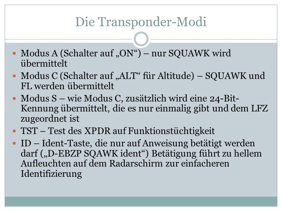 Die Transponder-Modi Modus A (Schalter auf ON) – nur SQUAWK wird übermittelt Modus C (Schalter auf ALT für Altitude) – SQUAWK und FL werden übermittel