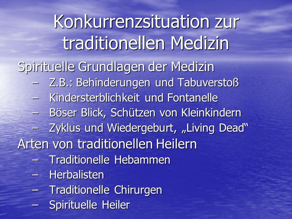 Konkurrenzsituation zur traditionellen Medizin Spirituelle Grundlagen der Medizin –Z.B.: Behinderungen und Tabuverstoß –Kindersterblichkeit und Fontan