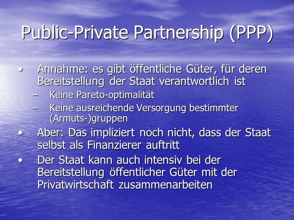 Public-Private Partnership (PPP) Annahme: es gibt öffentliche Güter, für deren Bereitstellung der Staat verantwortlich istAnnahme: es gibt öffentliche
