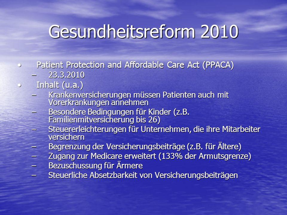 Gesundheitsreform 2010 Patient Protection and Affordable Care Act (PPACA)Patient Protection and Affordable Care Act (PPACA) –23.3.2010 Inhalt (u.a.)In