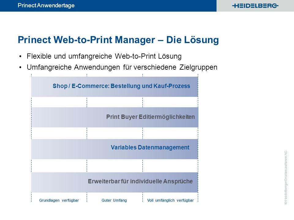 © Heidelberger Druckmaschinen AG Prinect Anwendertage Prinect Web-to-Print Manager – Die Lösung Flexible und umfangreiche Web-to-Print Lösung Umfangre