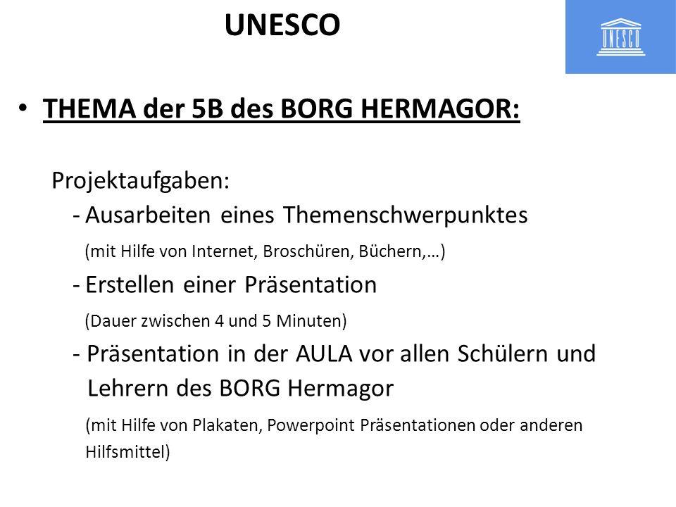 THEMA der 5B des BORG HERMAGOR: Projektaufgaben: -Ausarbeiten eines Themenschwerpunktes (mit Hilfe von Internet, Broschüren, Büchern,…) -Erstellen ein