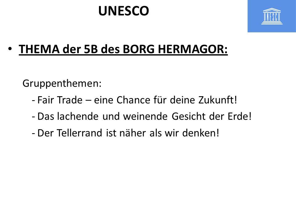 THEMA der 5B des BORG HERMAGOR: Gruppenthemen: -Fair Trade – eine Chance für deine Zukunft! -Das lachende und weinende Gesicht der Erde! -Der Tellerra