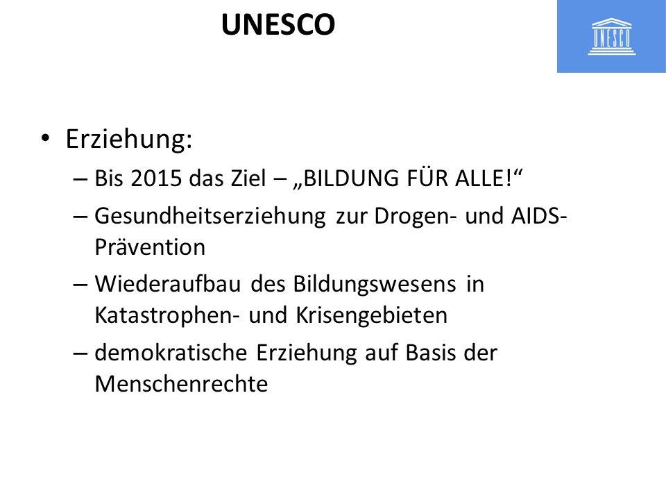 Erziehung: – Bis 2015 das Ziel – BILDUNG FÜR ALLE! – Gesundheitserziehung zur Drogen- und AIDS- Prävention – Wiederaufbau des Bildungswesens in Katast