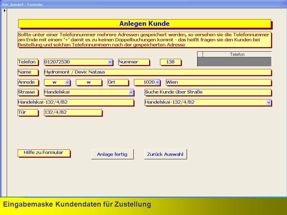 Eingabemaske Kundendaten für Zustellung