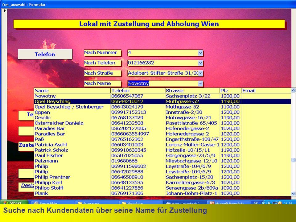 Suche nach Kundendaten über seine Mailadresse für Zustellung