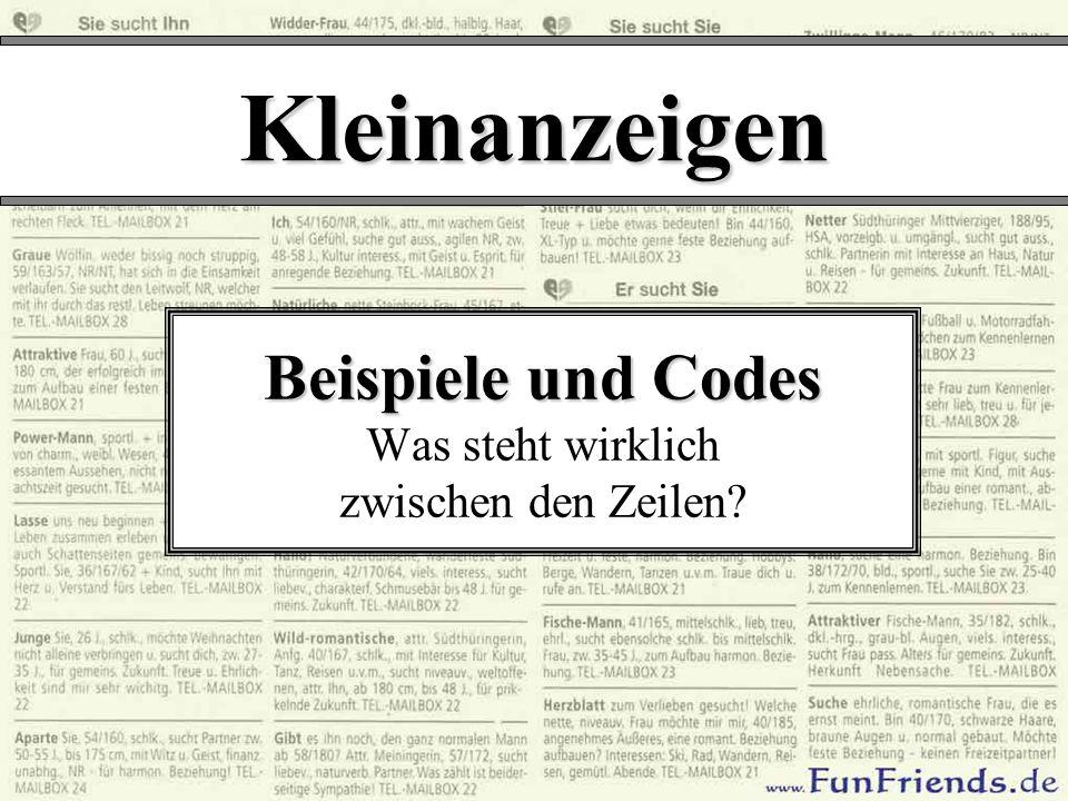 Kleinanzeigen Beispiele und Codes Beispiele und Codes Was steht wirklich zwischen den Zeilen?