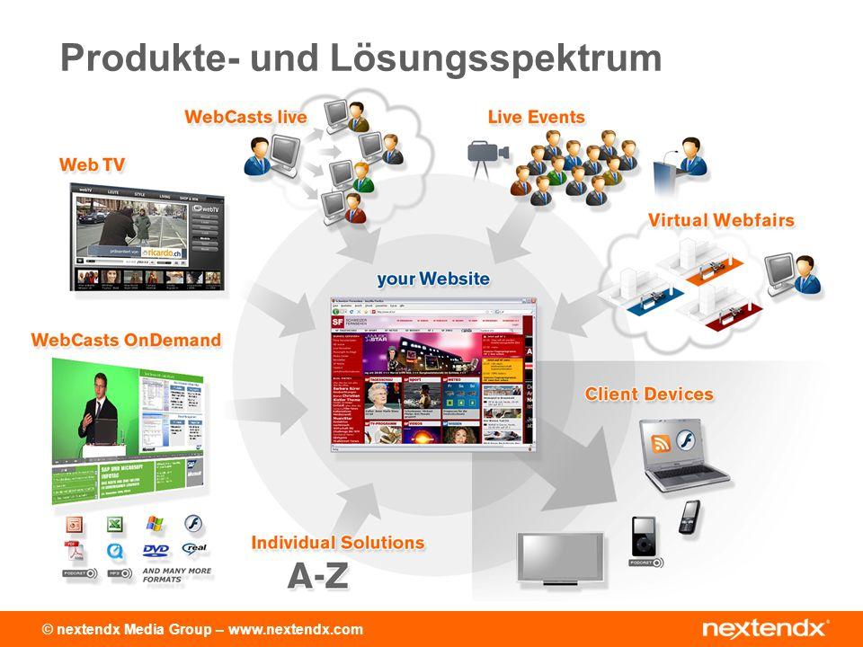© nextendx Media Group – www.nextendx.com Live WebCasts Live Übertragung Virtuelle Messen Abspielen von Webcasts Web-TV-Player
