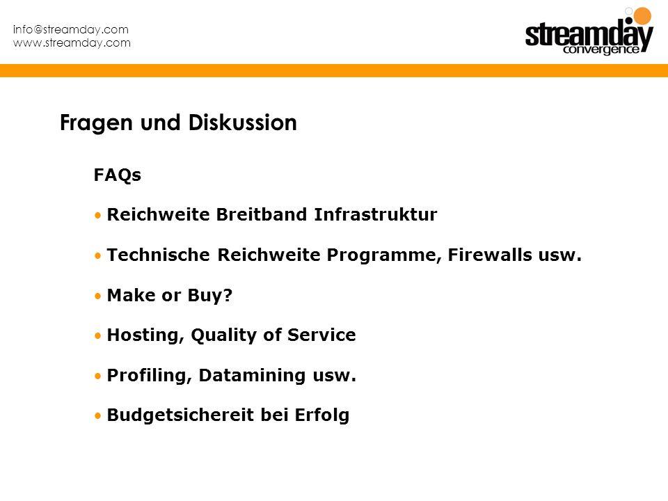 info@streamday.com www.streamday.com FAQs Reichweite Breitband Infrastruktur Technische Reichweite Programme, Firewalls usw. Make or Buy? Hosting, Qua