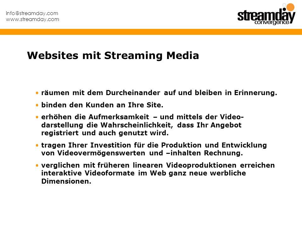 info@streamday.com www.streamday.com räumen mit dem Durcheinander auf und bleiben in Erinnerung. binden den Kunden an Ihre Site. erhöhen die Aufmerksa