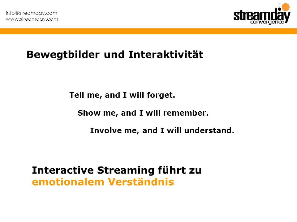 info@streamday.com www.streamday.com Bewegtbilder und Interaktivität Tell me, and I will forget. Show me, and I will remember. Involve me, and I will