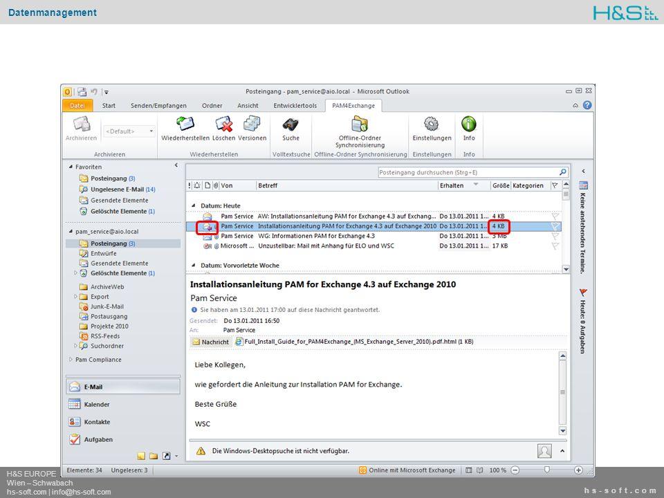 hs-soft.com H&S EUROPE Wien – Schwabach hs-soft.com | info@hs-soft.com Datenmanagement hs-soft.com H&S EUROPE Wien – Schwabach hs-soft.com | info@hs-soft.com Archive Manager – Exchange Edition wurde auf dem Gartner IT-ChannelVision mit dem Best xSP Solution: Software Award ausgezeichnet.