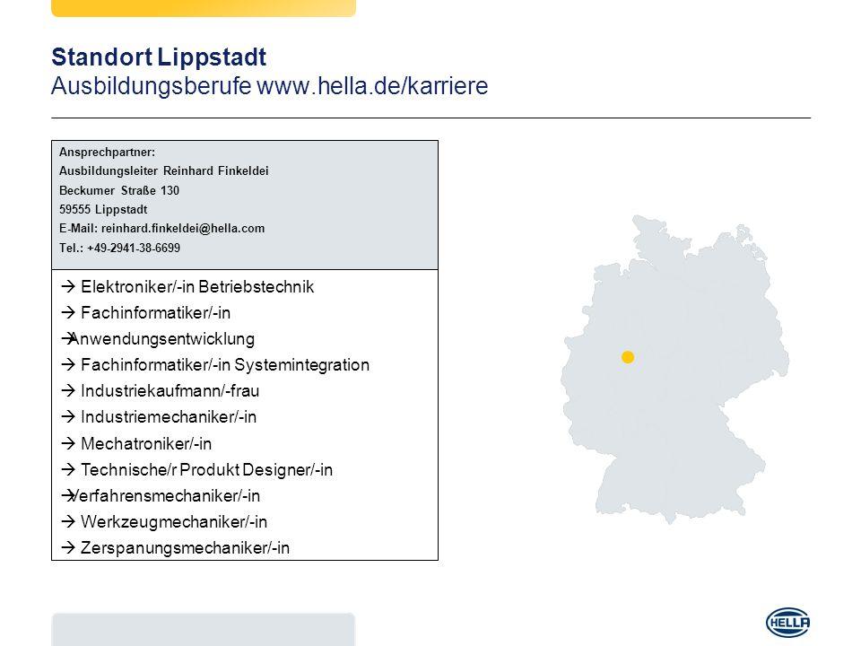 Standort Lippstadt Ausbildungsberufe www.hella.de/karriere Ansprechpartner: Ausbildungsleiter Reinhard Finkeldei Beckumer Straße 130 59555 Lippstadt E