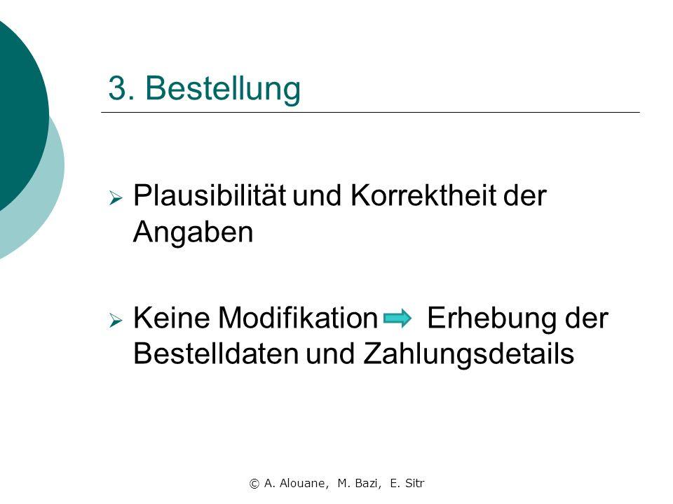 3. Bestellung Plausibilität und Korrektheit der Angaben Keine Modifikation Erhebung der Bestelldaten und Zahlungsdetails © A. Alouane, M. Bazi, E. Sit