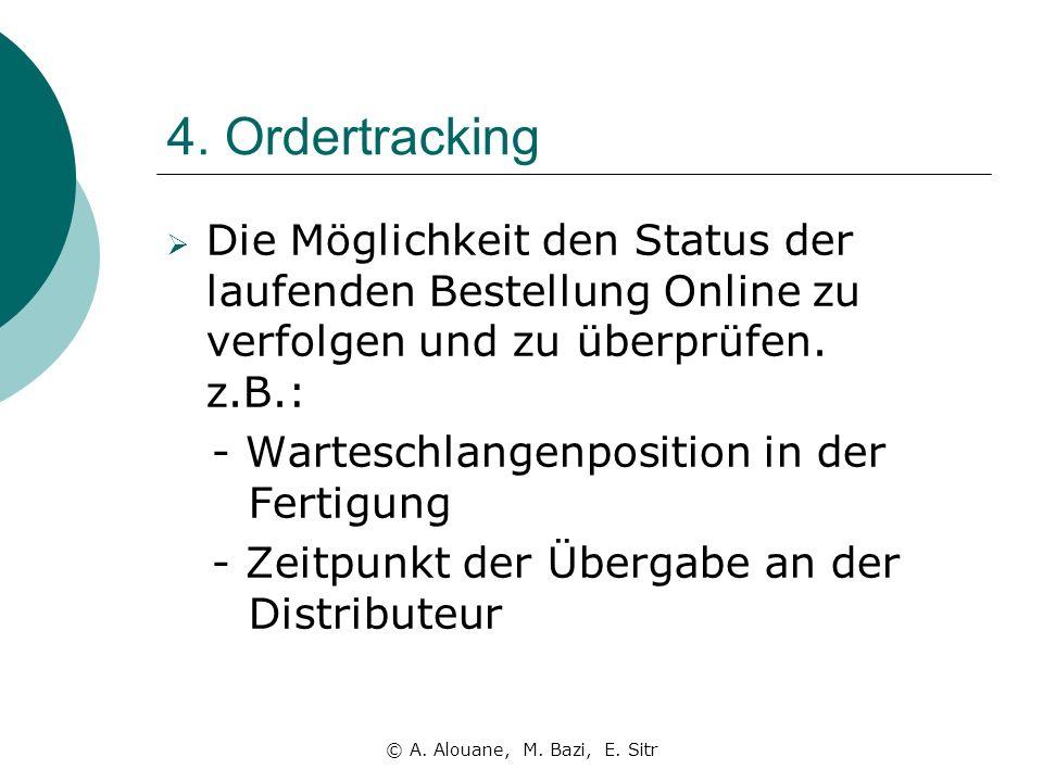 4. Ordertracking Die Möglichkeit den Status der laufenden Bestellung Online zu verfolgen und zu überprüfen. z.B.: - Warteschlangenposition in der Fert