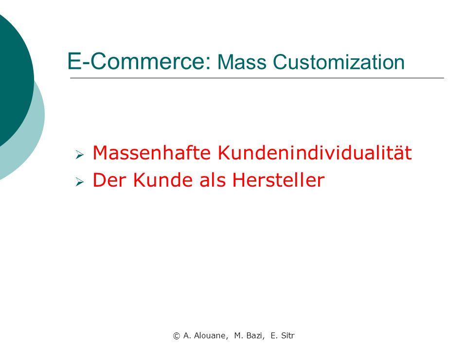 E-Commerce: Mass Customization Massenhafte Kundenindividualität Der Kunde als Hersteller © A.