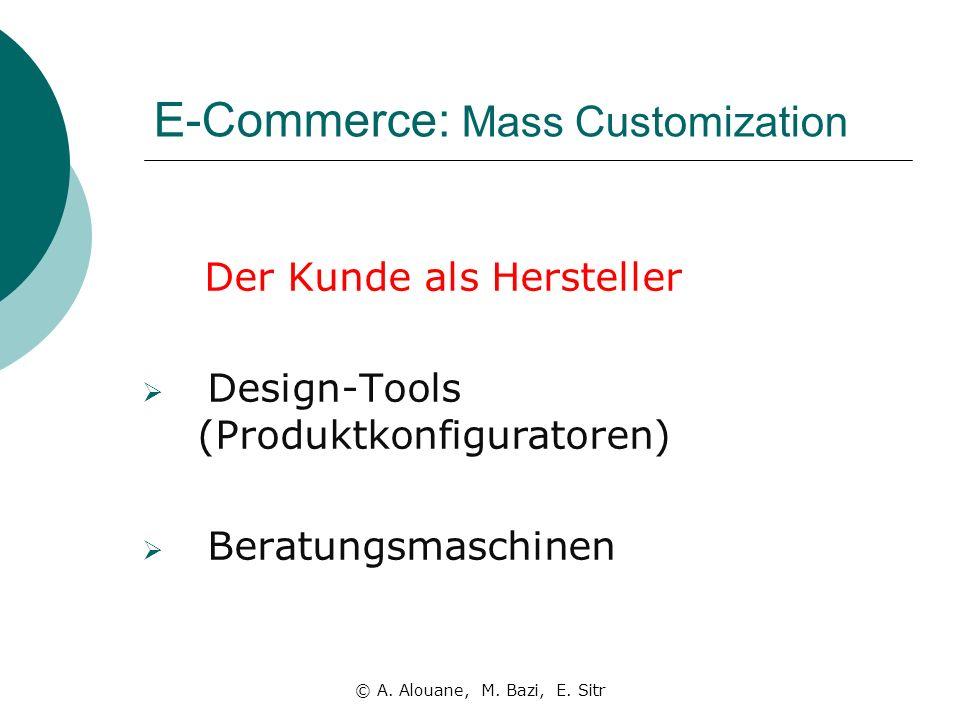 E-Commerce: Mass Customization Der Kunde als Hersteller Design-Tools (Produktkonfiguratoren) Beratungsmaschinen © A.