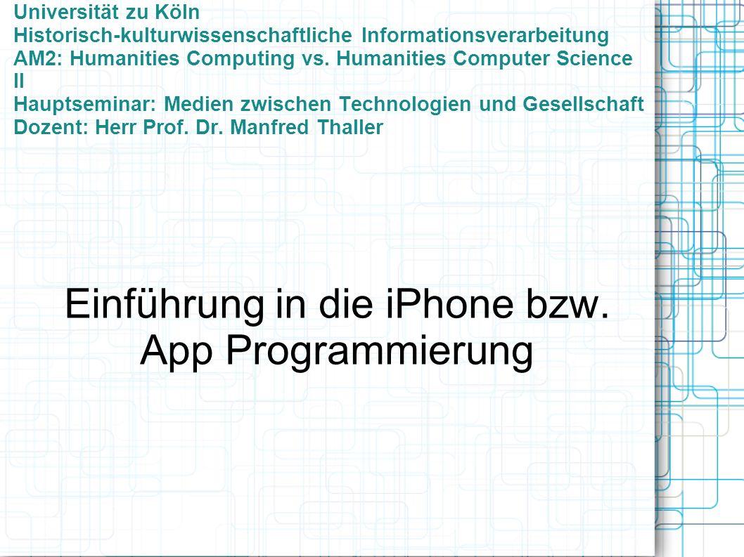 Universität zu Köln Historisch-kulturwissenschaftliche Informationsverarbeitung AM2: Humanities Computing vs.