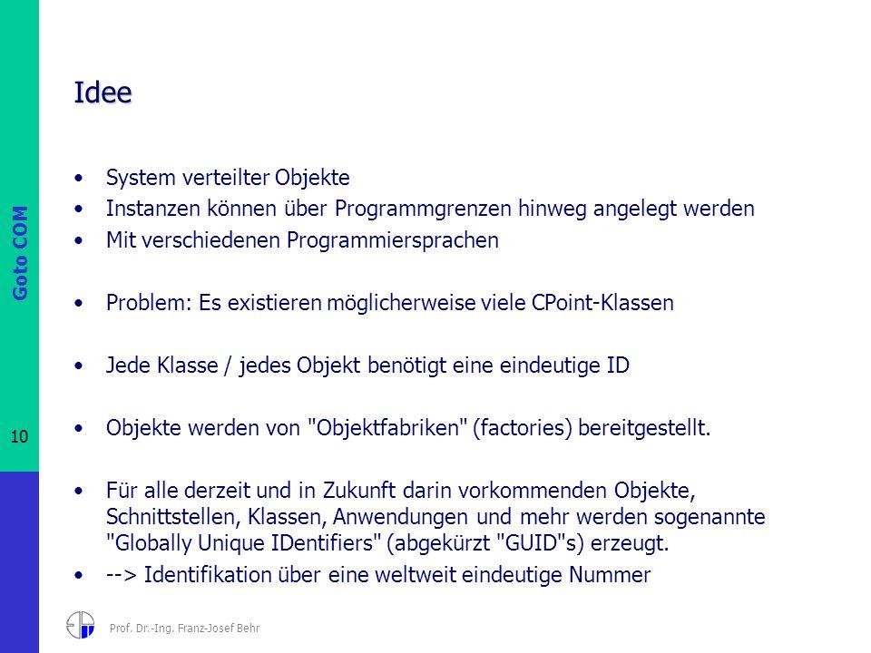 Goto COM 10 Prof. Dr.-Ing. Franz-Josef Behr Idee System verteilter Objekte Instanzen können über Programmgrenzen hinweg angelegt werden Mit verschiede