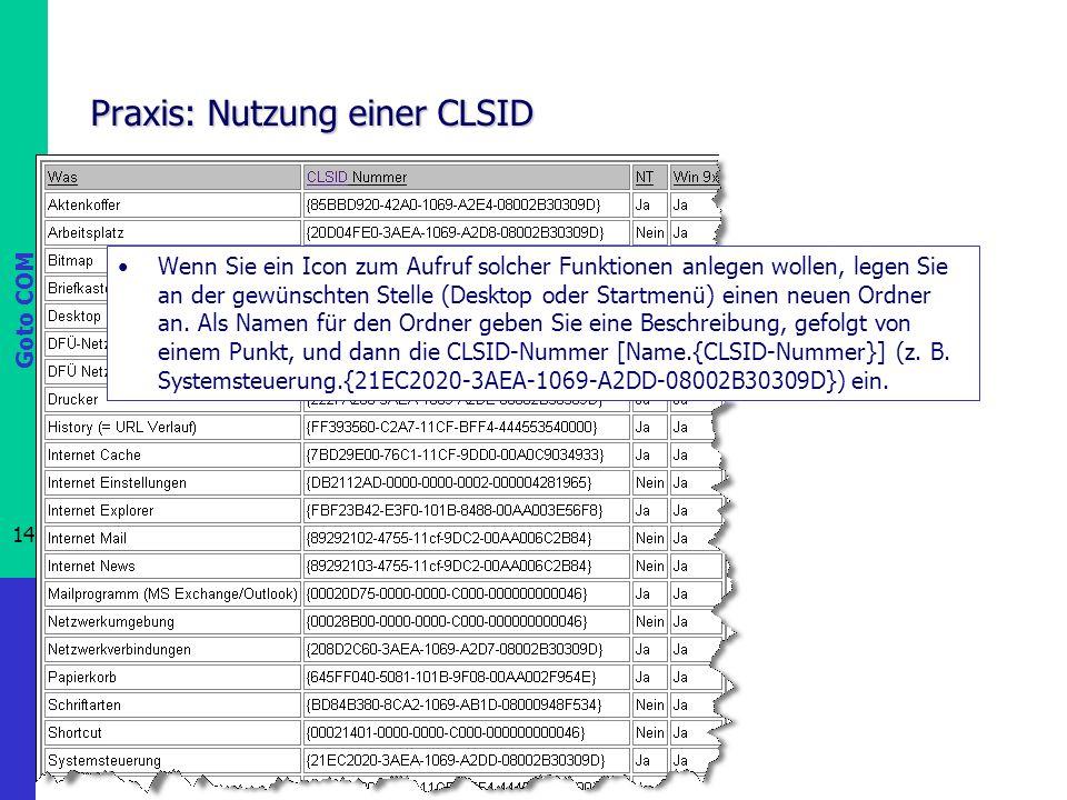 Goto COM 14 Prof. Dr.-Ing. Franz-Josef Behr Praxis: Nutzung einer CLSID Wenn Sie ein Icon zum Aufruf solcher Funktionen anlegen wollen, legen Sie an d