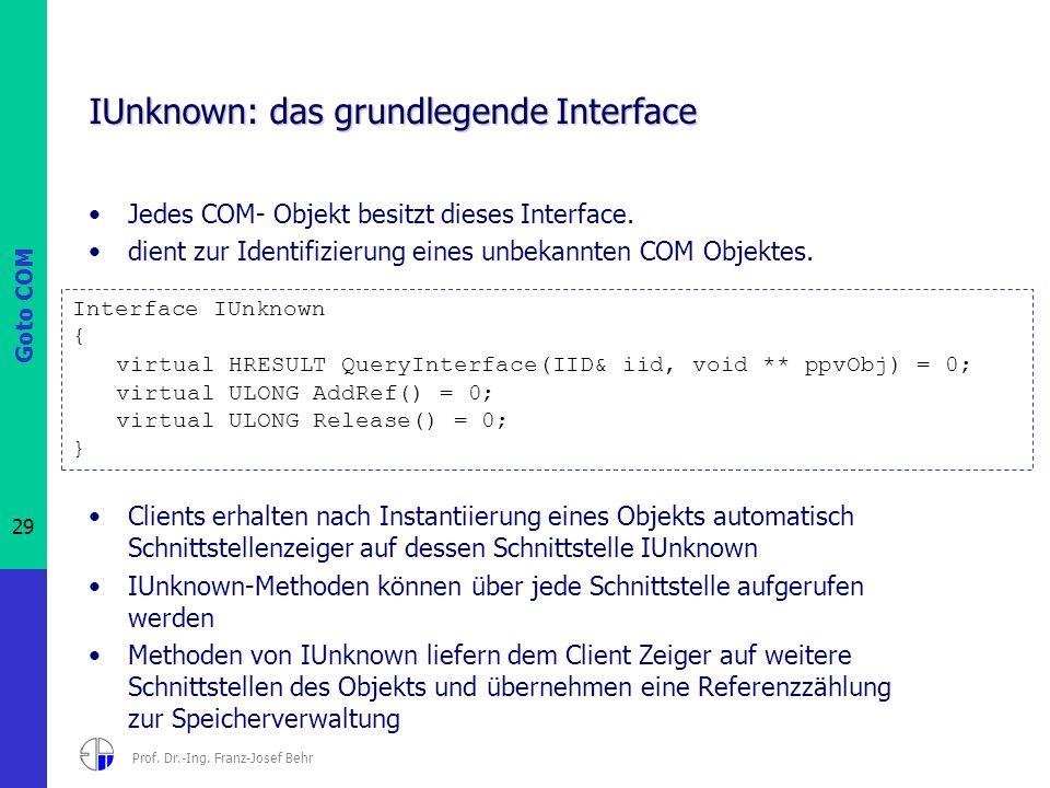 Goto COM 29 Prof. Dr.-Ing. Franz-Josef Behr IUnknown: das grundlegende Interface Jedes COM- Objekt besitzt dieses Interface. dient zur Identifizierung
