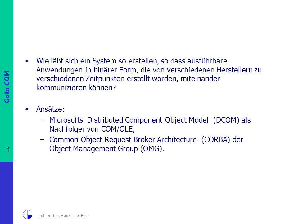Goto COM 4 Prof. Dr.-Ing. Franz-Josef Behr Wie läßt sich ein System so erstellen, so dass ausführbare Anwendungen in binärer Form, die von verschieden