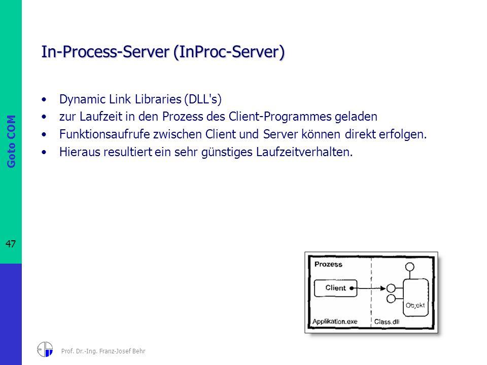 Goto COM 47 Prof. Dr.-Ing. Franz-Josef Behr In-Process-Server (InProc-Server) Dynamic Link Libraries (DLL's) zur Laufzeit in den Prozess des Client-Pr