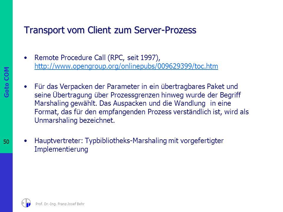Goto COM 50 Prof. Dr.-Ing. Franz-Josef Behr Transport vom Client zum Server-Prozess Remote Procedure Call (RPC, seit 1997), http://www.opengroup.org/o
