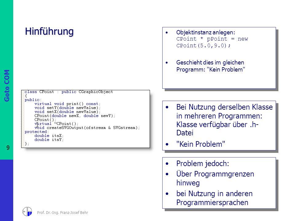 Goto COM 9 Prof. Dr.-Ing. Franz-Josef Behr Hinführung Objektinstanz anlegen: CPoint * pPoint = new CPoint(5.0,9.0); Geschieht dies im gleichen Program