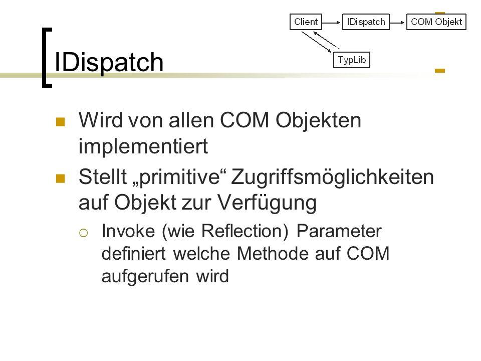 IDispatch Wird von allen COM Objekten implementiert Stellt primitive Zugriffsmöglichkeiten auf Objekt zur Verfügung Invoke (wie Reflection) Parameter