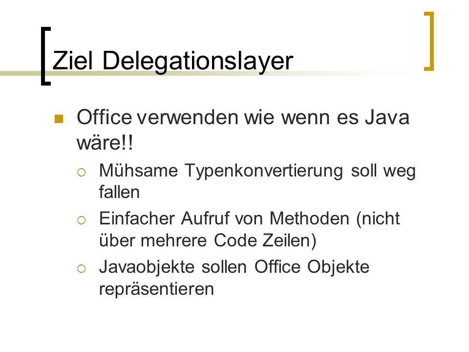 Ziel Delegationslayer Office verwenden wie wenn es Java wäre!! Mühsame Typenkonvertierung soll weg fallen Einfacher Aufruf von Methoden (nicht über me