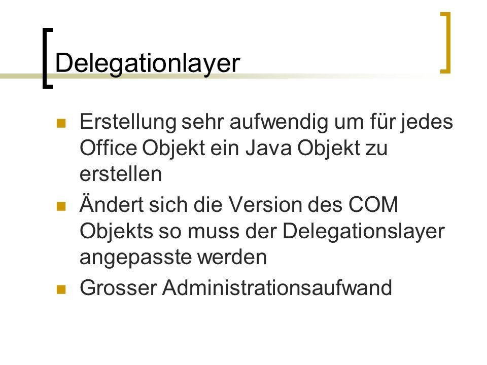 Delegationlayer Erstellung sehr aufwendig um für jedes Office Objekt ein Java Objekt zu erstellen Ändert sich die Version des COM Objekts so muss der