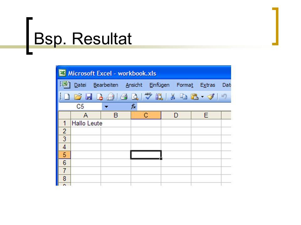 Was HSSF nicht kann (Excel) Unterschiedliche Formatierungen in der gleichen Zelle Keine Diagramme erzeugen Keine Makro erzeugen Pivot Tabelle können nicht erzeugt werden http://jakarta.apache.org/poi/hssf/quick -guide.html http://jakarta.apache.org/poi/hssf/quick -guide.html