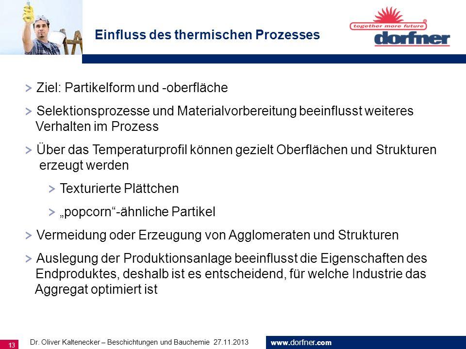 www. dorfner.com 13 Einfluss des thermischen Prozesses Ziel: Partikelform und -oberfläche Selektionsprozesse und Materialvorbereitung beeinflusst weit