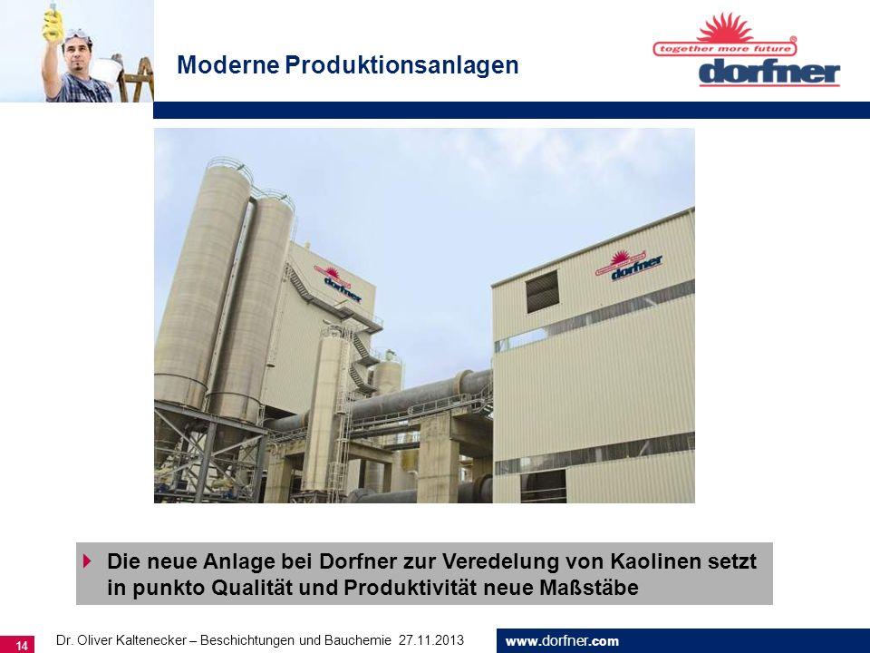 www. dorfner.com 14 Moderne Produktionsanlagen Die neue Anlage bei Dorfner zur Veredelung von Kaolinen setzt in punkto Qualität und Produktivität neue